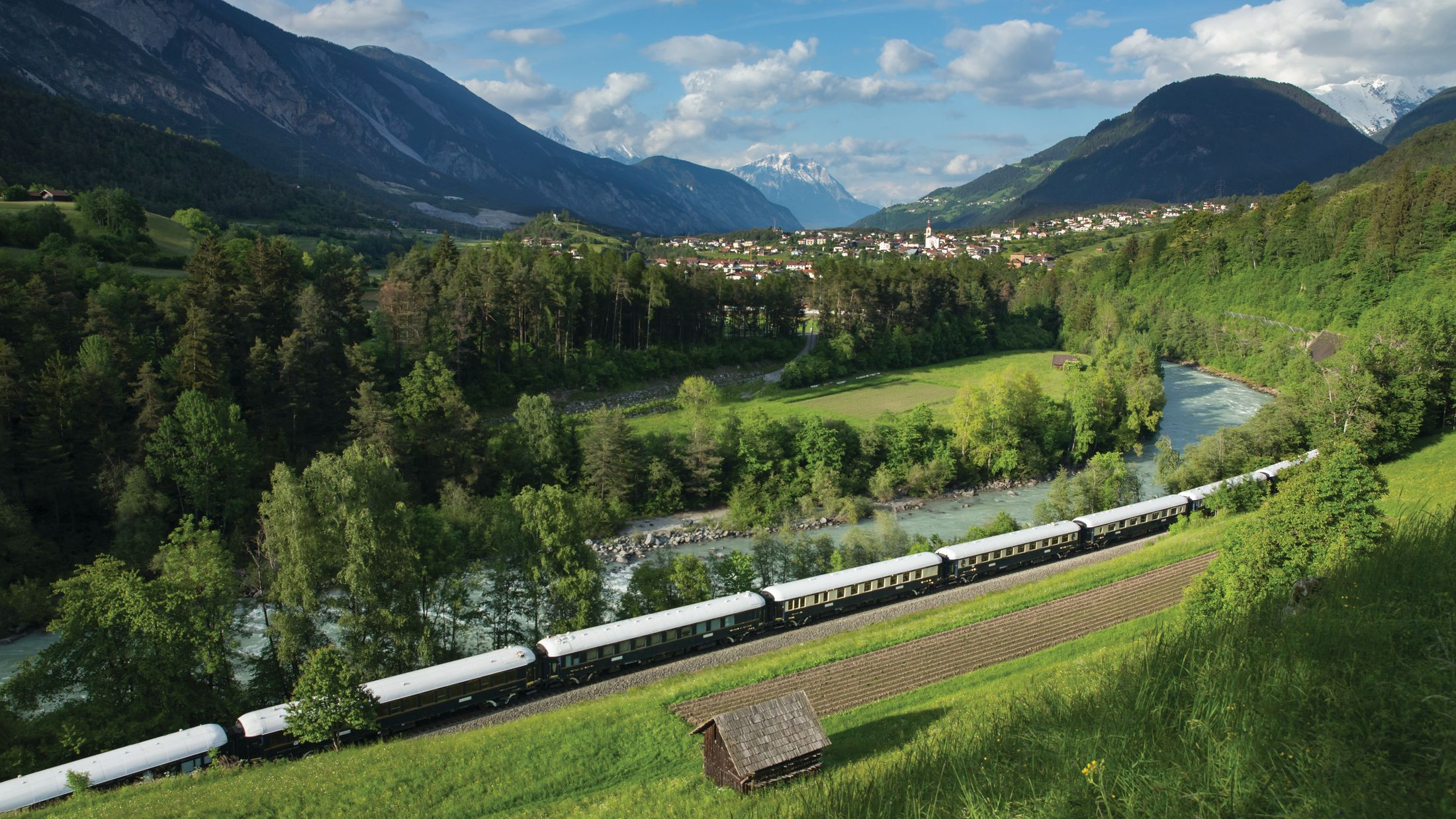 the Venice Simplon Orient Express passing through near Roppen, Austria