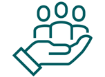Icon of a hand holding people